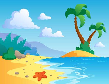 Beach theme scenery 1 - vector illustration