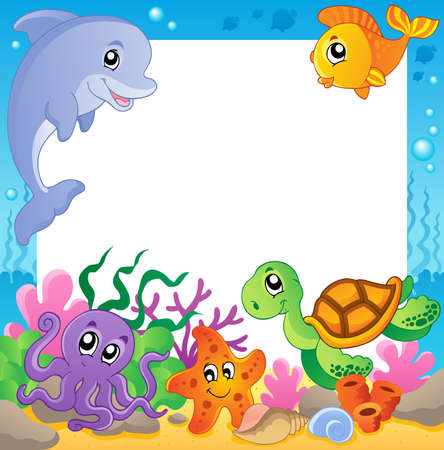 Photo pour Frame with underwater animals 1 - vector illustration  - image libre de droit