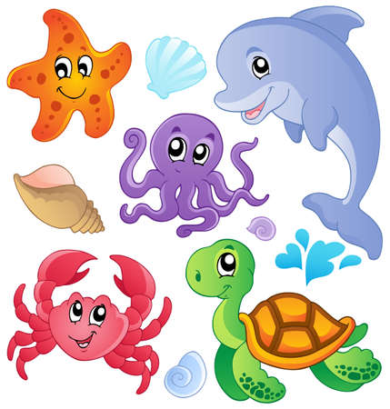 Photo for Sea fishes and animals collection 3 - vector illustration  - Royalty Free Image