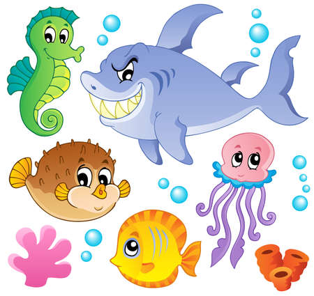Photo for Sea fishes and animals collection 4 - vector illustration  - Royalty Free Image