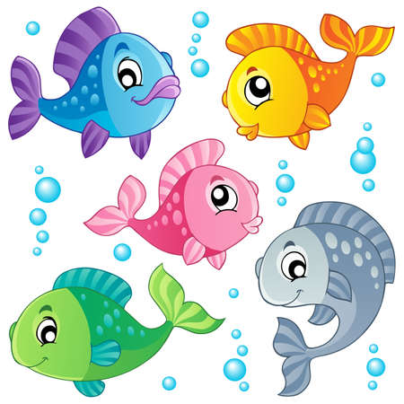Various cute fishes collection 3 - vector illustration のイラスト素材