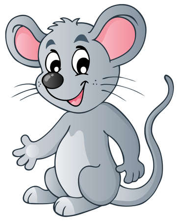 Cute cartoon mouse - vector illustration