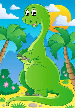 Scene with dinosaur 2 - vector illustration
