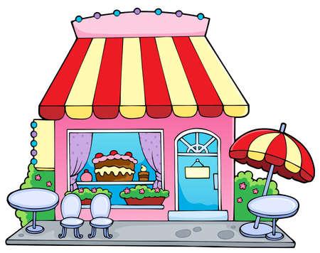 Cartoon candy store - vector illustration