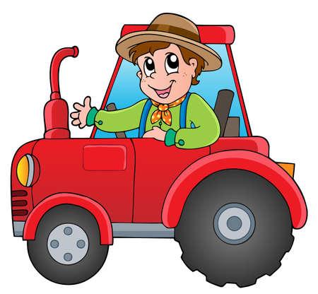 Cartoon farmer on tractor - vector illustration