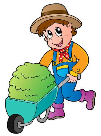 Cartoon farmer with small hay cart - vector illustration