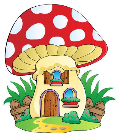 Cartoon mushroom house - vector illustration