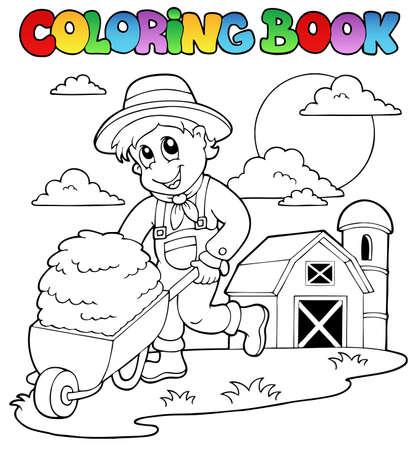 Coloring book farm theme 3 - vector illustration