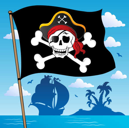 Pirate banner theme 2 - vector illustration