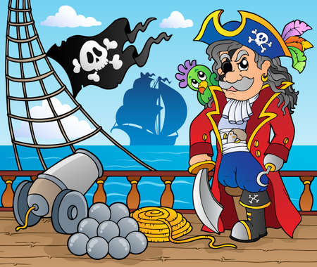 Pirate ship deck theme 3 - vector illustration