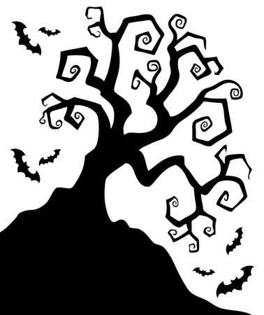Spooky silhouette of Halloween tree  illustration