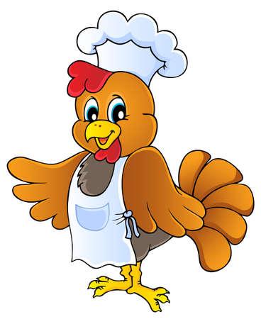 Cartoon chicken chef - vector illustration
