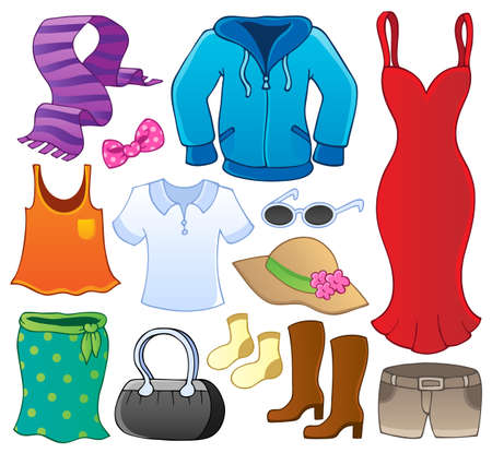 Illustration for Clothes theme collection 1 - vector illustration  - Royalty Free Image