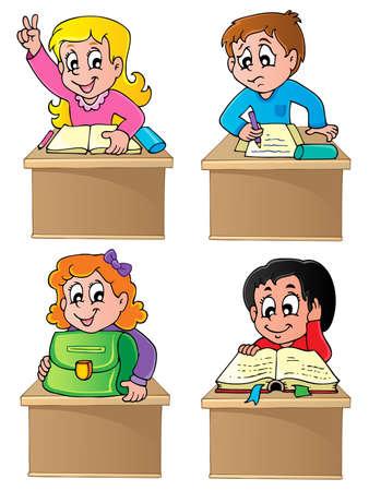 School pupils theme image 1 - vector illustration
