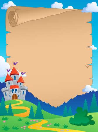 Fairy tale theme parchment 4 - vector illustration