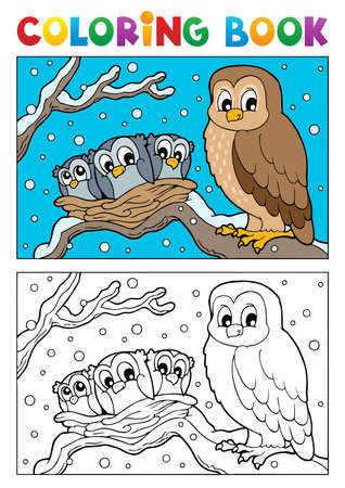 Coloring book owl theme illustration のイラスト素材