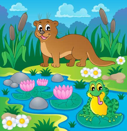River fauna theme image 1 - vector illustration