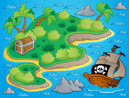 Theme with island and treasure