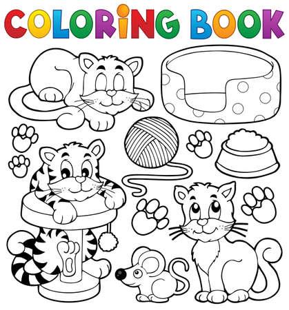 Illustration pour Coloring book cat theme collection - eps10 vector illustration. - image libre de droit