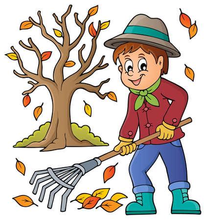 Image with gardener theme - vector illustration.