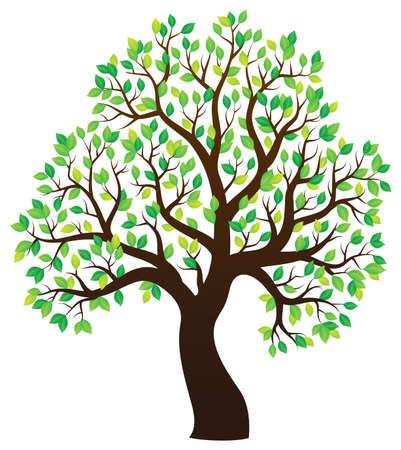 Illustration pour Silhouette of leafy tree theme 1 - eps10 vector illustration. - image libre de droit