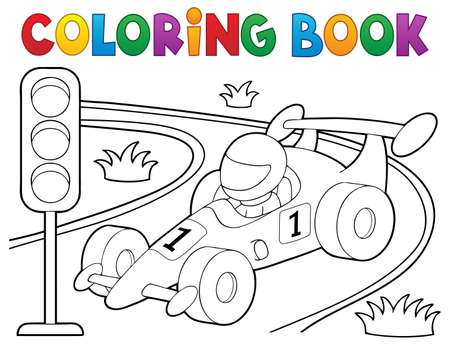 Illustration for Coloring book racing car theme 1 - eps10 vector illustration. - Royalty Free Image