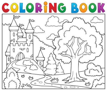 Illustration pour Coloring book castle and tree. - image libre de droit