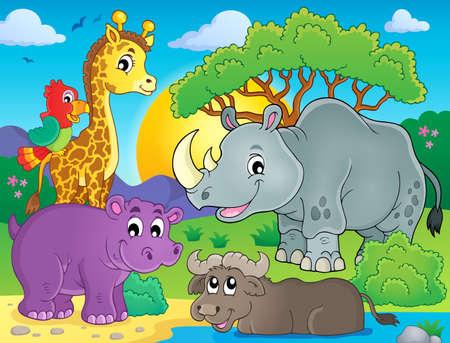 Ilustración de African fauna theme image - Imagen libre de derechos