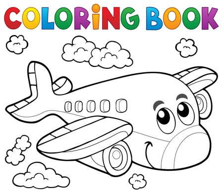 Ilustración de Coloring book airplane theme - Imagen libre de derechos