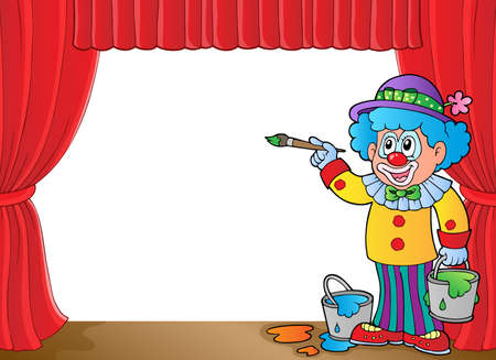 Clown with paints on stage  vector illustration.