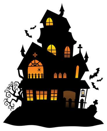 Illustration pour Haunted house silhouette - image libre de droit