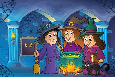 Illustration pour Three witches theme image - image libre de droit