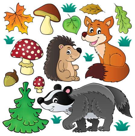 Forest wildlife theme set