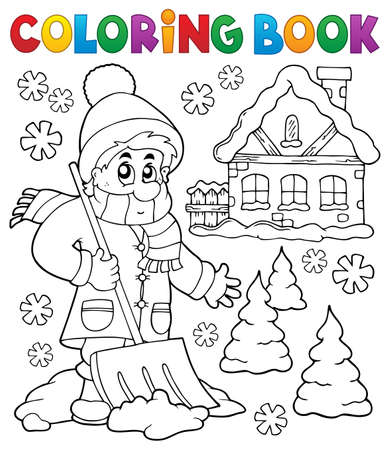 Coloring book winter theme 3 - eps10 vector illustration.のイラスト素材