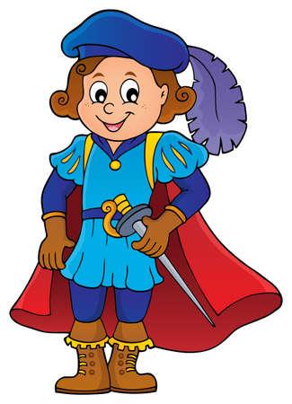 Illustration pour Kid wearing prince costume vector illustration. - image libre de droit