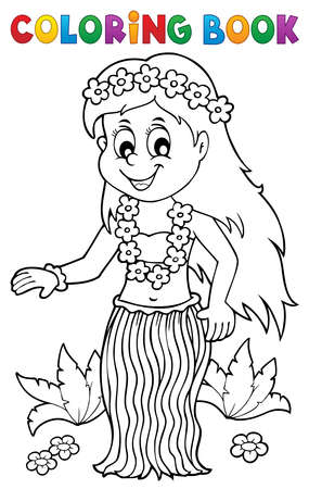 Illustration for Coloring book Hawaiian theme dancer 1 - eps10 vector illustration. - Royalty Free Image