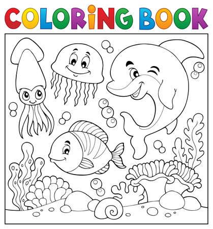 Illustration pour Coloring book sea life theme - image libre de droit
