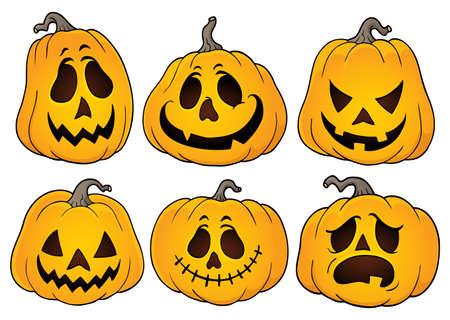 Ilustración de Halloween pumpkins theme set 3 - eps10 vector illustration. - Imagen libre de derechos