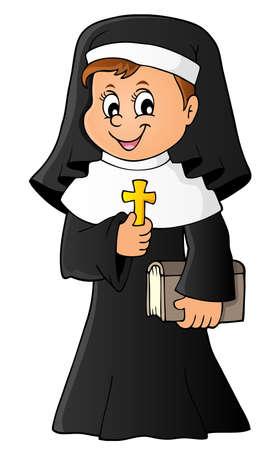 Illustration pour Happy nun topic image 1 - eps10 vector illustration. - image libre de droit