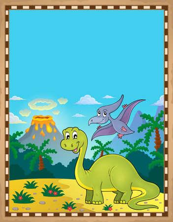Foto de Dinosaur theme parchment 1 - eps10 vector illustration. - Imagen libre de derechos