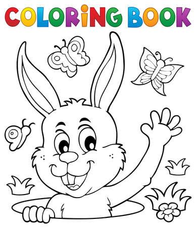 Illustration pour Coloring book lurking Easter bunny - eps10 vector illustration. - image libre de droit