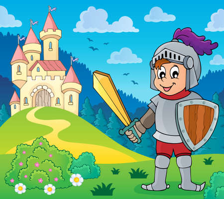 Illustration for Knight near stylized castle theme illustration. - Royalty Free Image