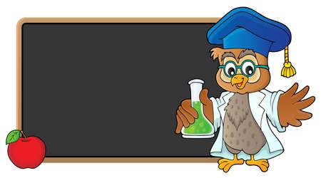 Illustration pour Owl teacher with chemical flask  vector illustration. - image libre de droit