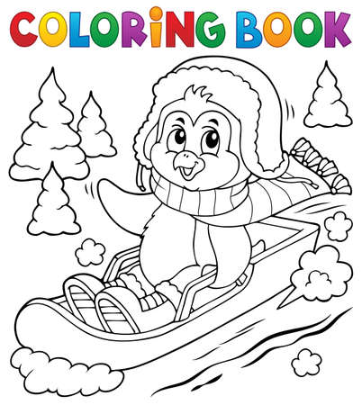 Illustration pour Coloring book penguin on bobsleigh - image libre de droit
