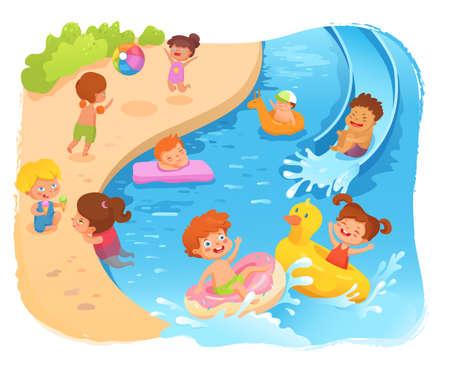 Illustration pour Kids on beach cartoon vector color illustration - image libre de droit