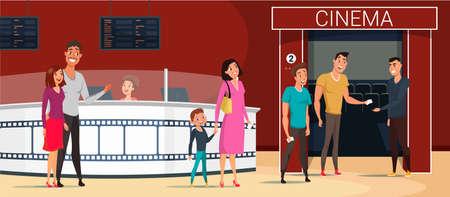 Ilustración de People going to cinema cartoon vector illustration - Imagen libre de derechos