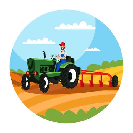 Illustration pour Farmer driving tractor with plough illustration - image libre de droit