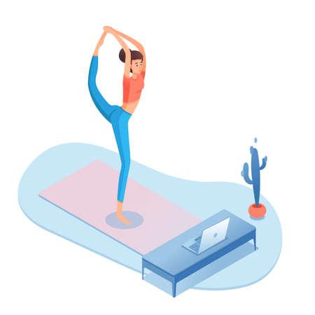 Illustration pour Home yoga, pilates isometric vector illustration - image libre de droit