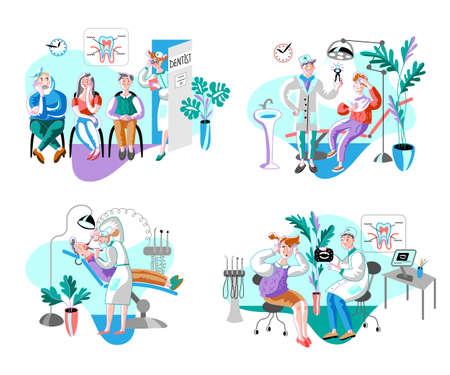 Illustration pour Dental clinic patients flat illustrations set - image libre de droit