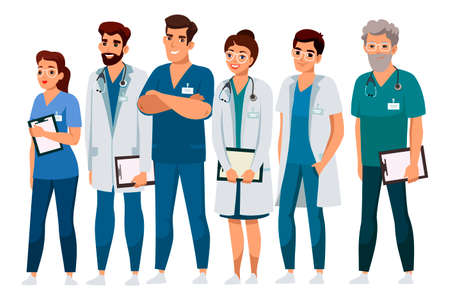 Illustration pour Friendly smiling professional medical staff. Doctor, assistant, nurse hospital team presentation. Man woman people character in uniform standing isolated on white background. Medicine and healthcare - image libre de droit